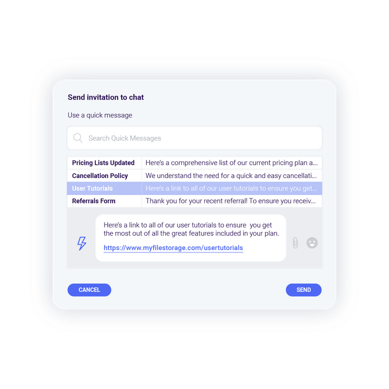 Rake quick message to invite a user chat