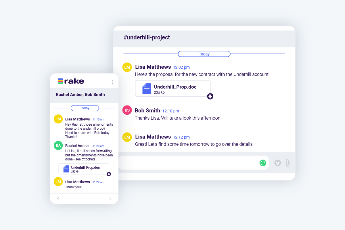Chat with co-workers and share files with Rake team communication technology