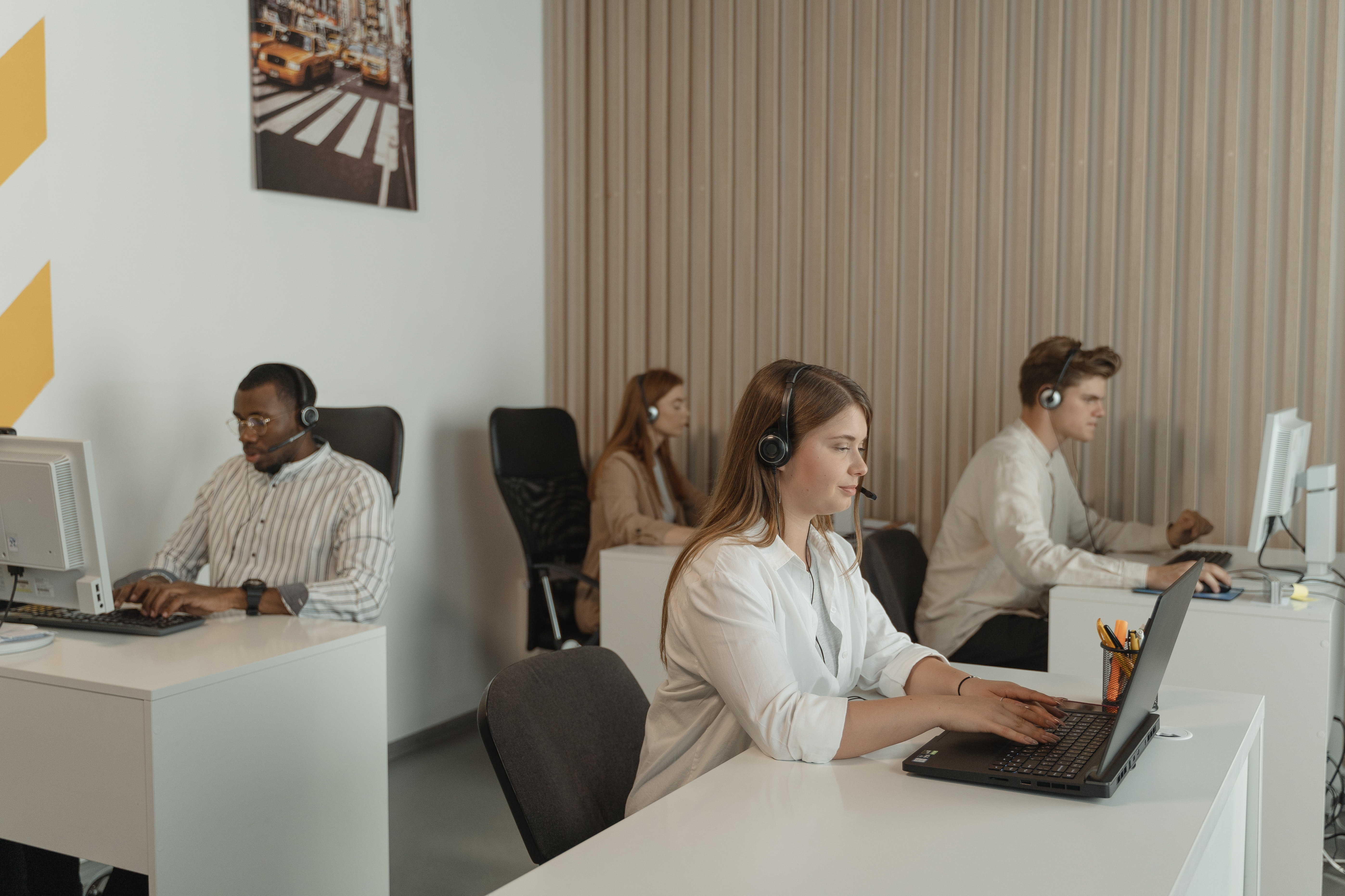 Call center team photo in action