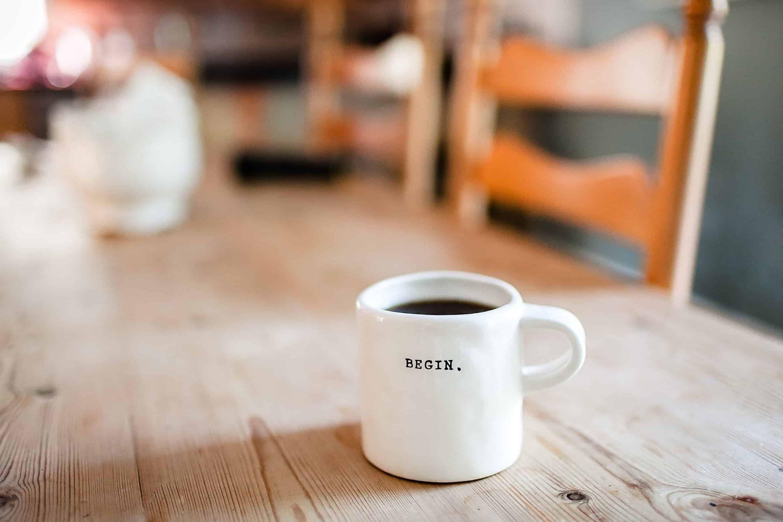 begin coffee mug