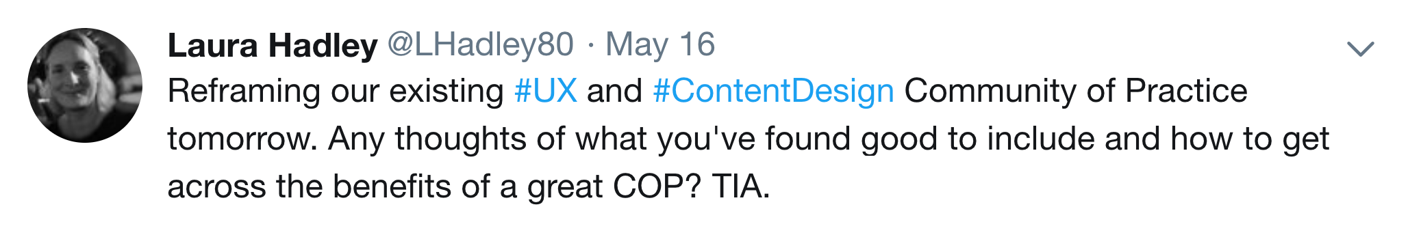 Reframing our existing #UX and #ContentDesign Community of Practice tomorrow. Any thoughts of what you've found good to include and how to get across the benefits of a great COP? TIA.