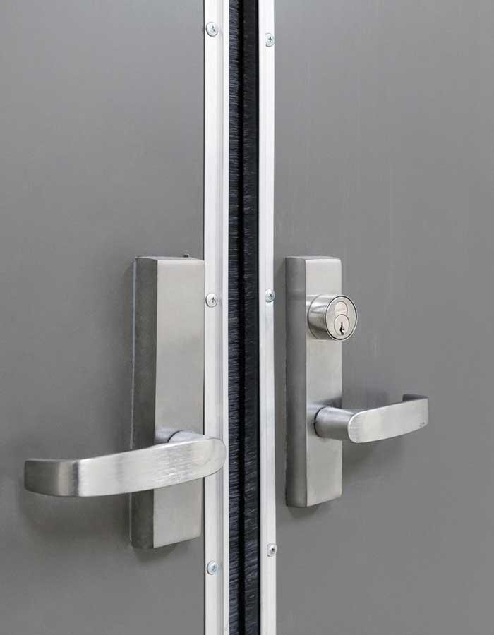 close up of door lever locks in woman's hospital