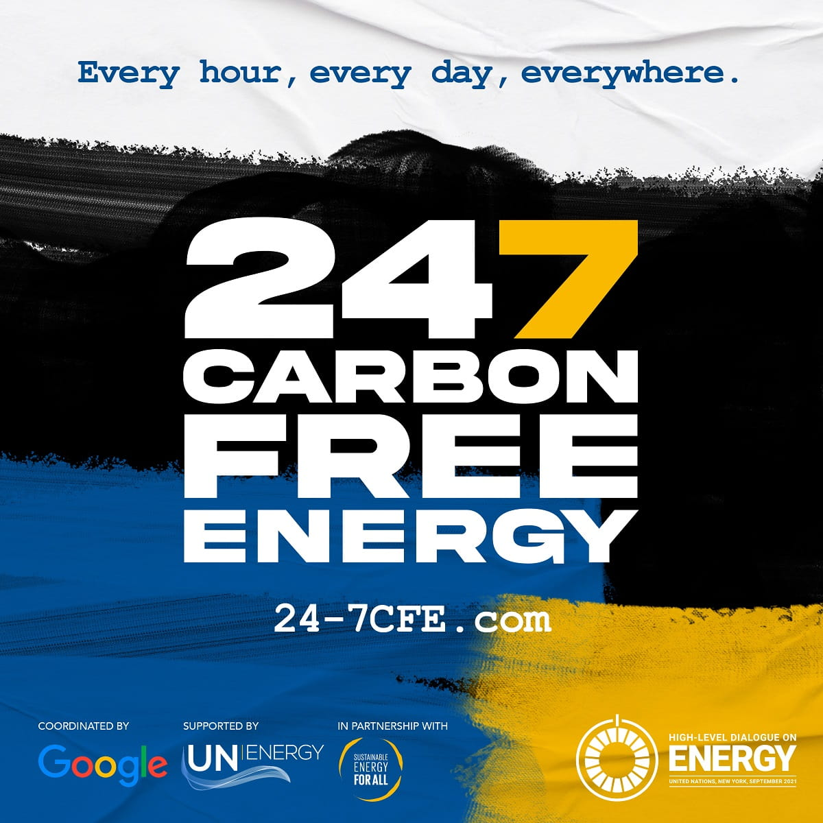 24/7 Carbon Free Energy Google and United Nations poster
