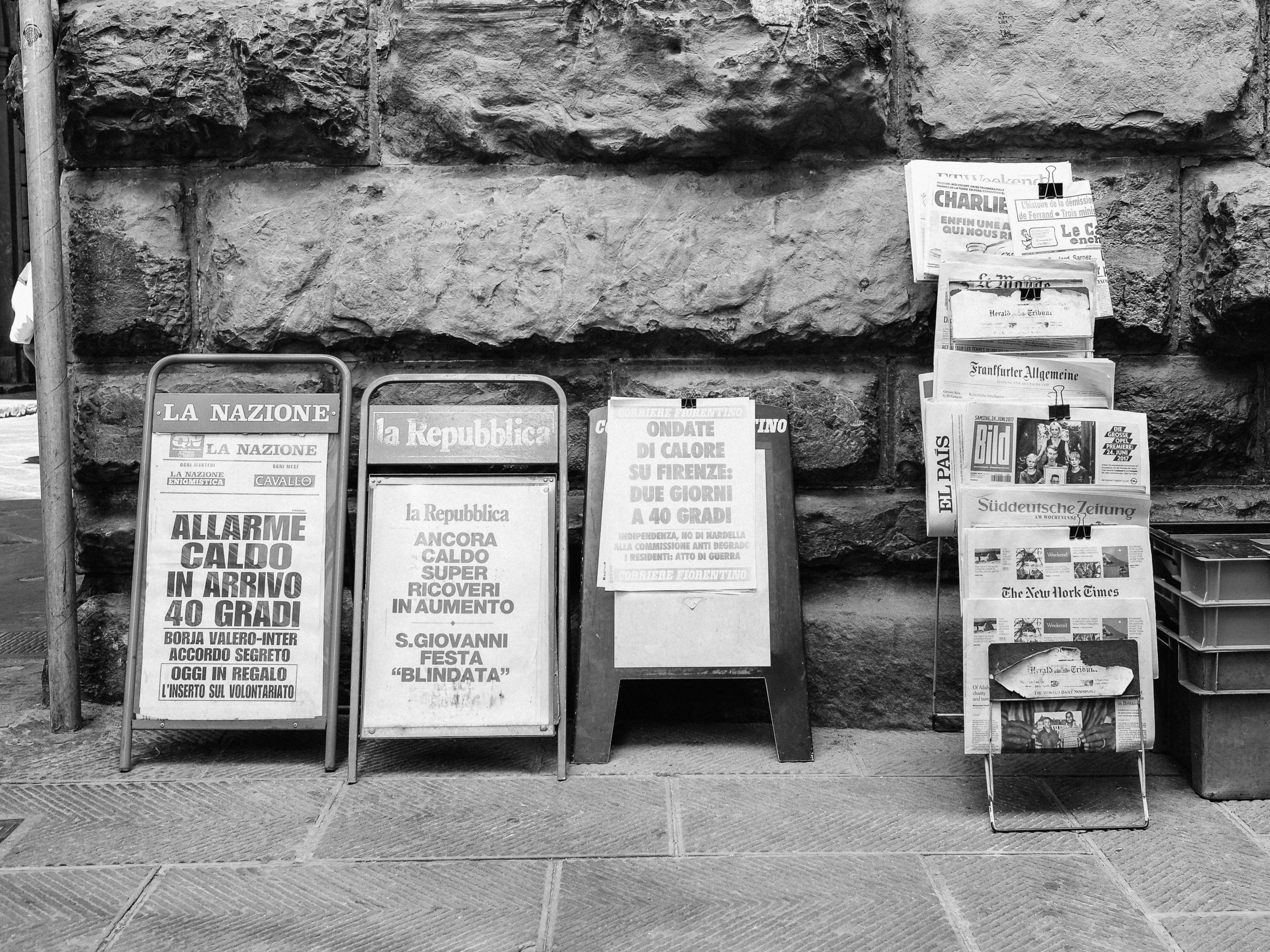 newspapers on a street