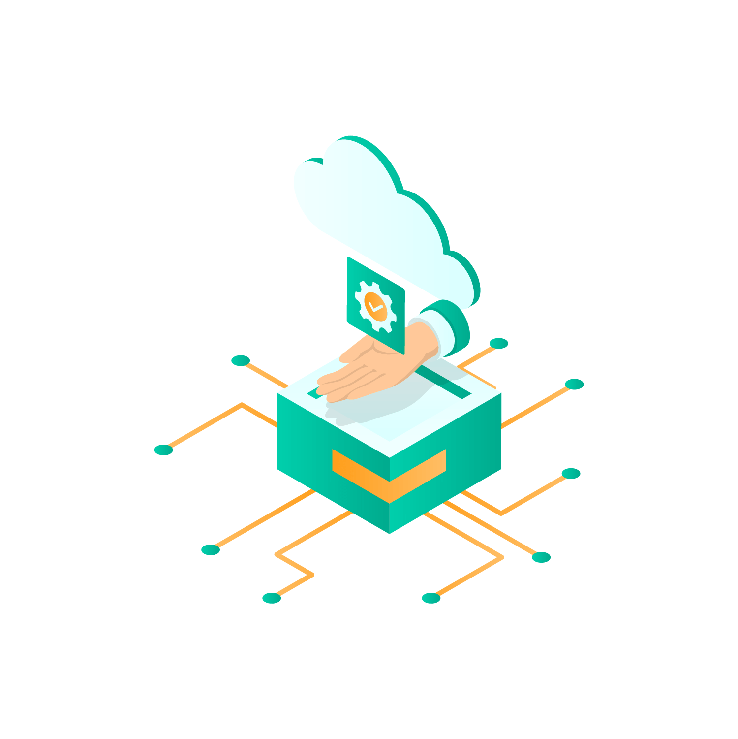 illustration of a cloud over a box
