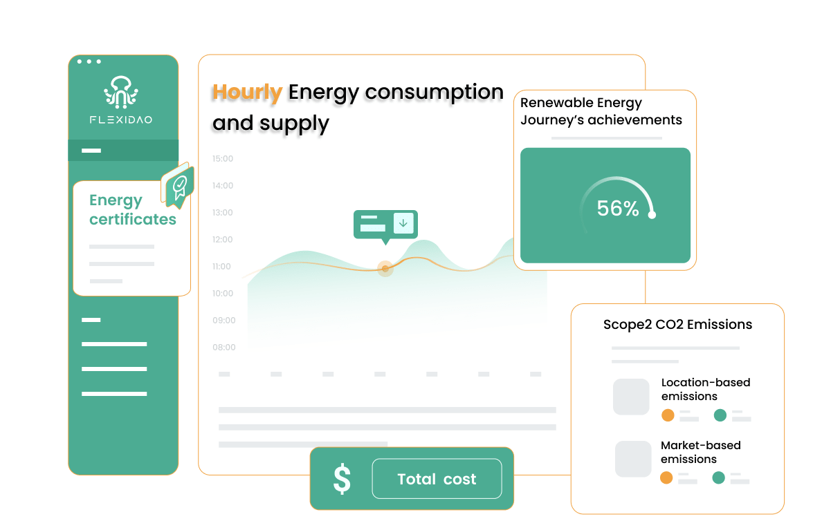 illustration of a flexidao graph showing hourly energy consumption and supply