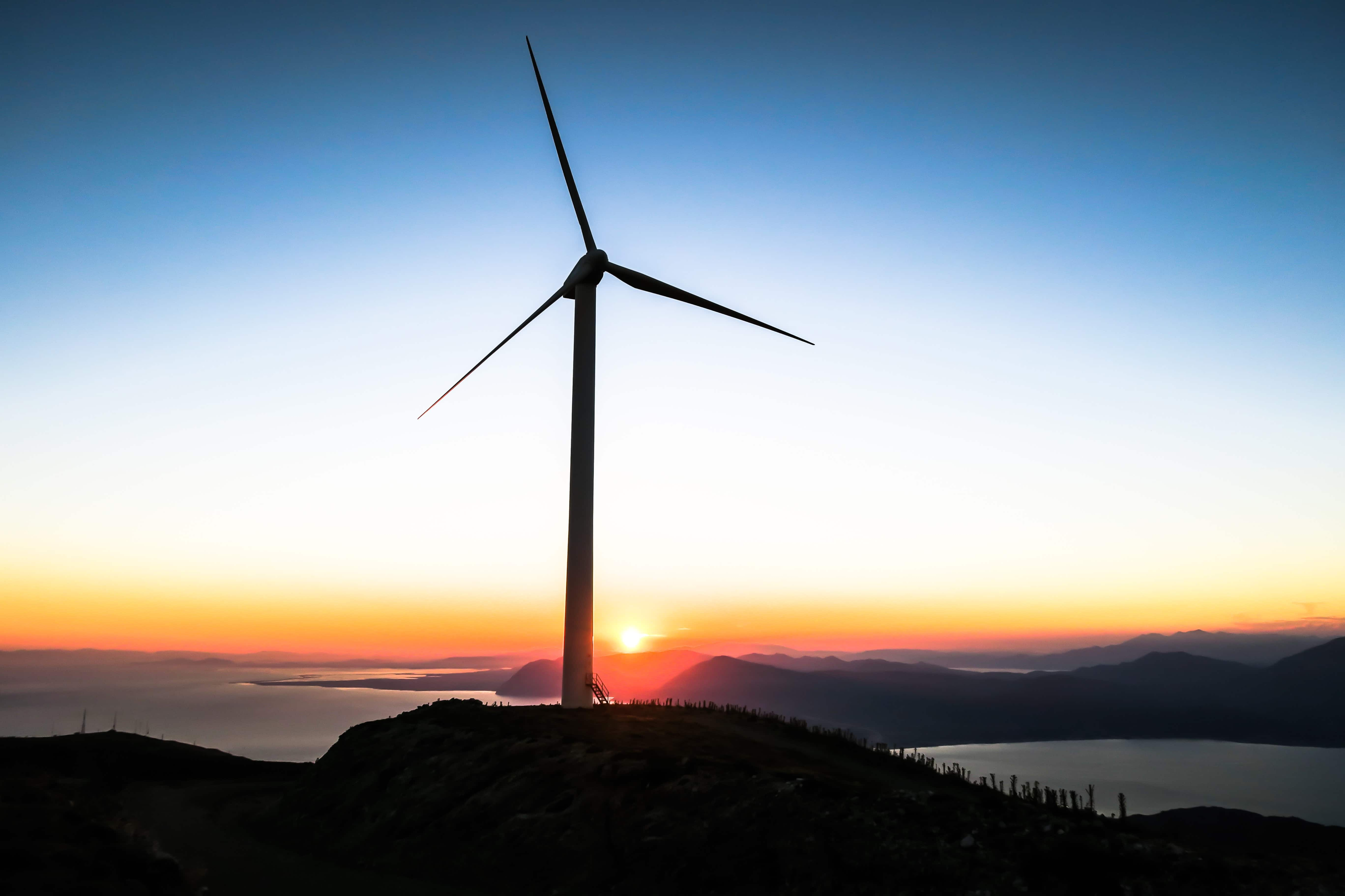 Windmill in front of sunset