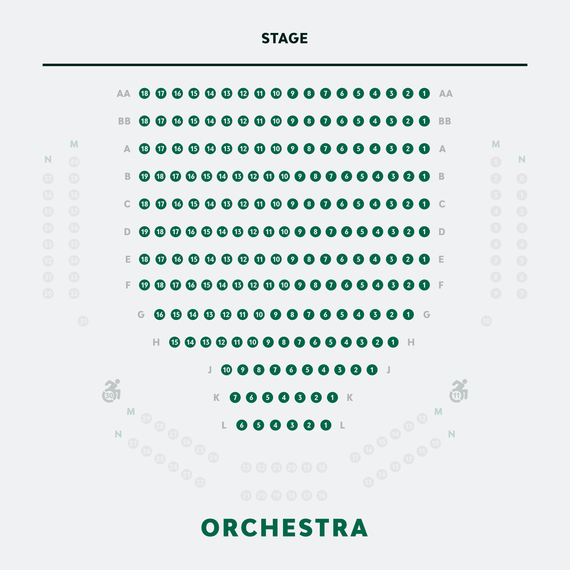 Elizabeth Wallace Theater Orchestra Seating