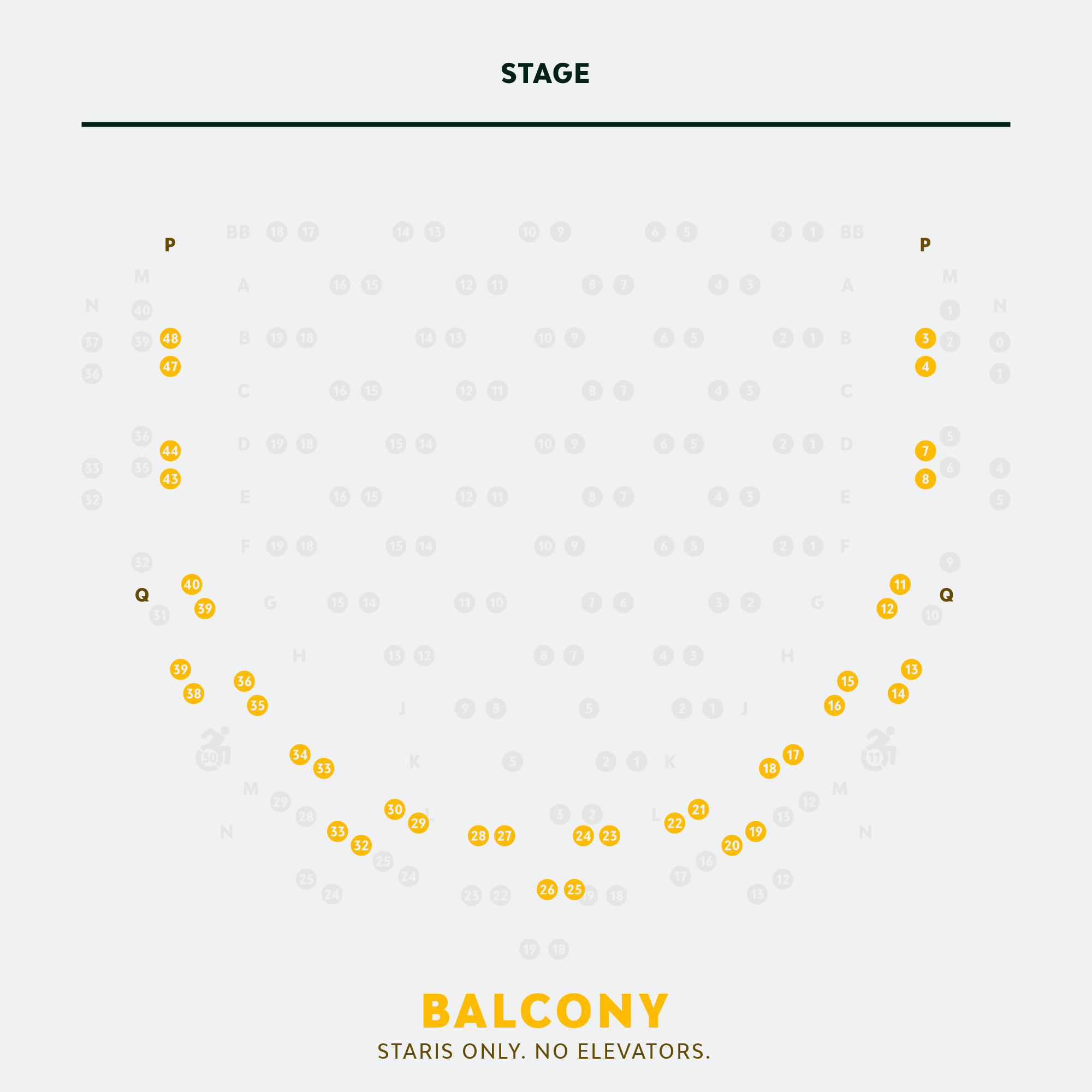 Physically Distanced Balcony Seating Chart