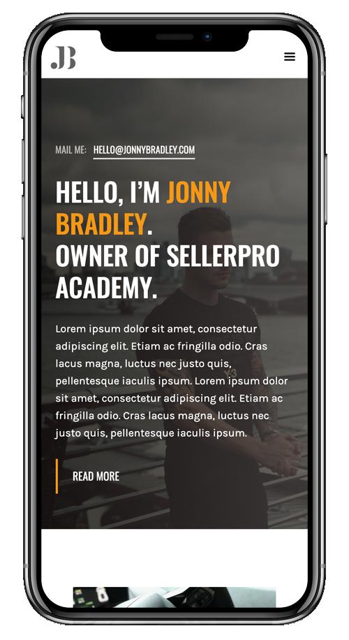 iPhone X Displaying JonnyBradley.com