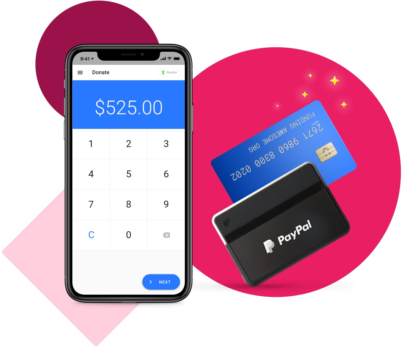 The Funraise App and paypal card reader swiping a card