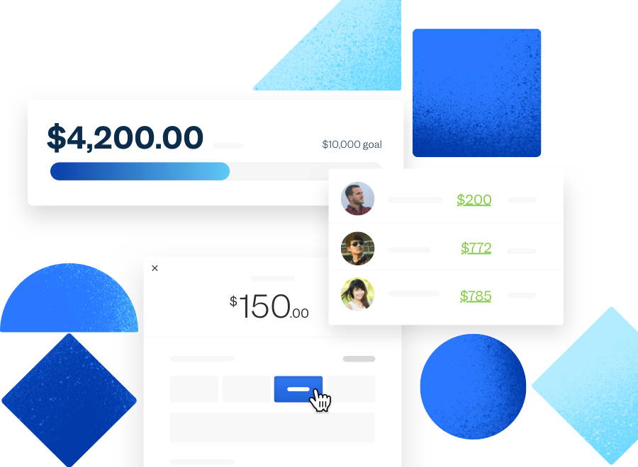 A mosaic of shapes in a range of blue hues mingles with a donation form, a donation progress bar, and a list of nonprofit supporters.