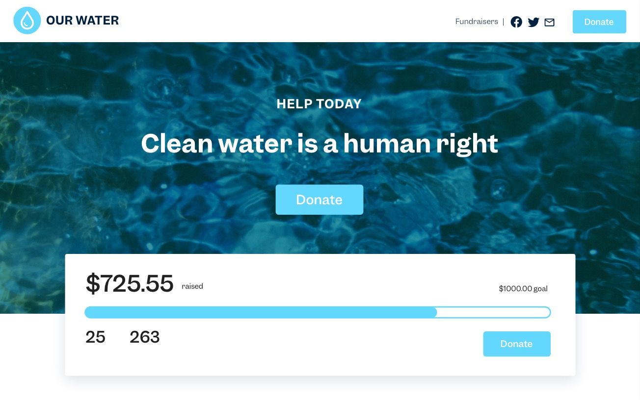 "A gorgeous fundraising website with the text, ""Clean water is a human right"" on a background of deep blue-green water and a fundraising progress bar front and center."