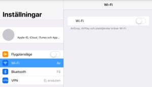 Inside settings on an iPad.  Make sure that Airplane Mode is not enabled, that Wi-Fi is enabled, and that it is connected to the correct network.