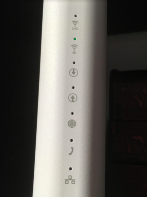 Examples of how it can shine on a modem with built-in router.  In this case, only Wi-Fi is on.  But as you look at the up and down arrow, no information goes in or out.  And no connection to the internet because the globe symbol is also off.