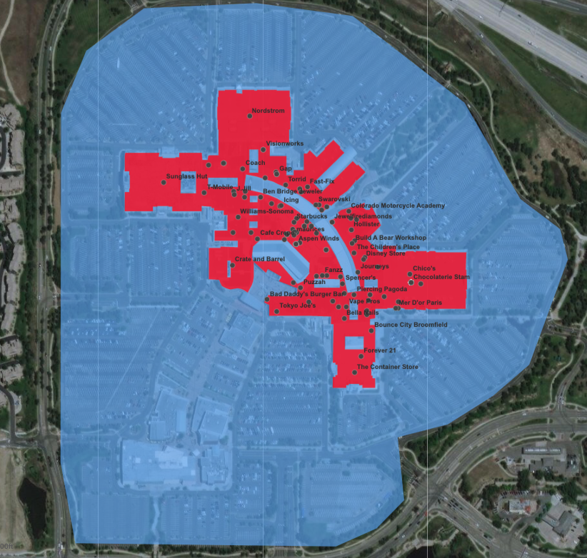 Geometry data depicts enclosed polygons for places that are completely inside other places.