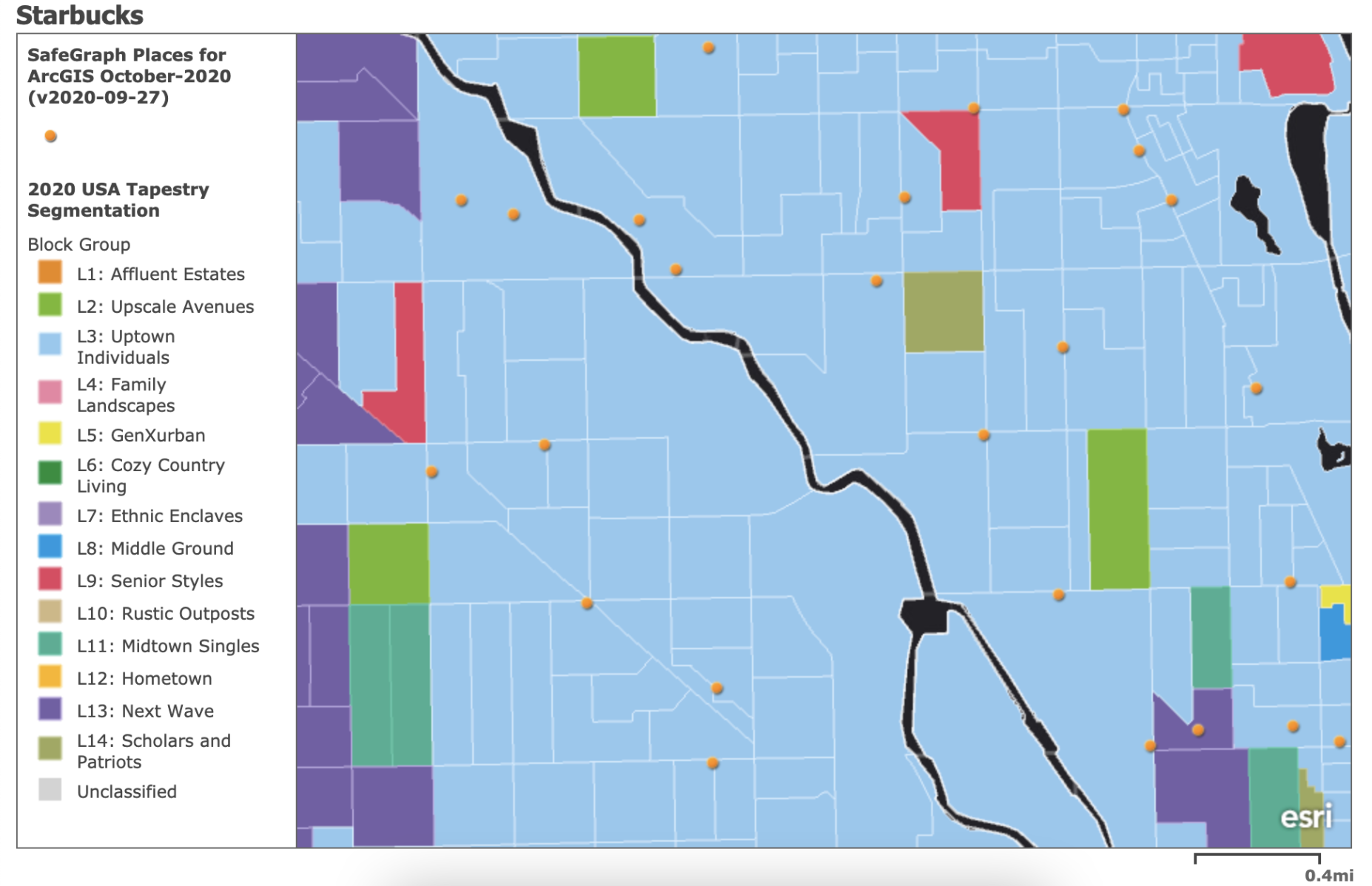Points of interest data combined with demographic data for real estate analytics.