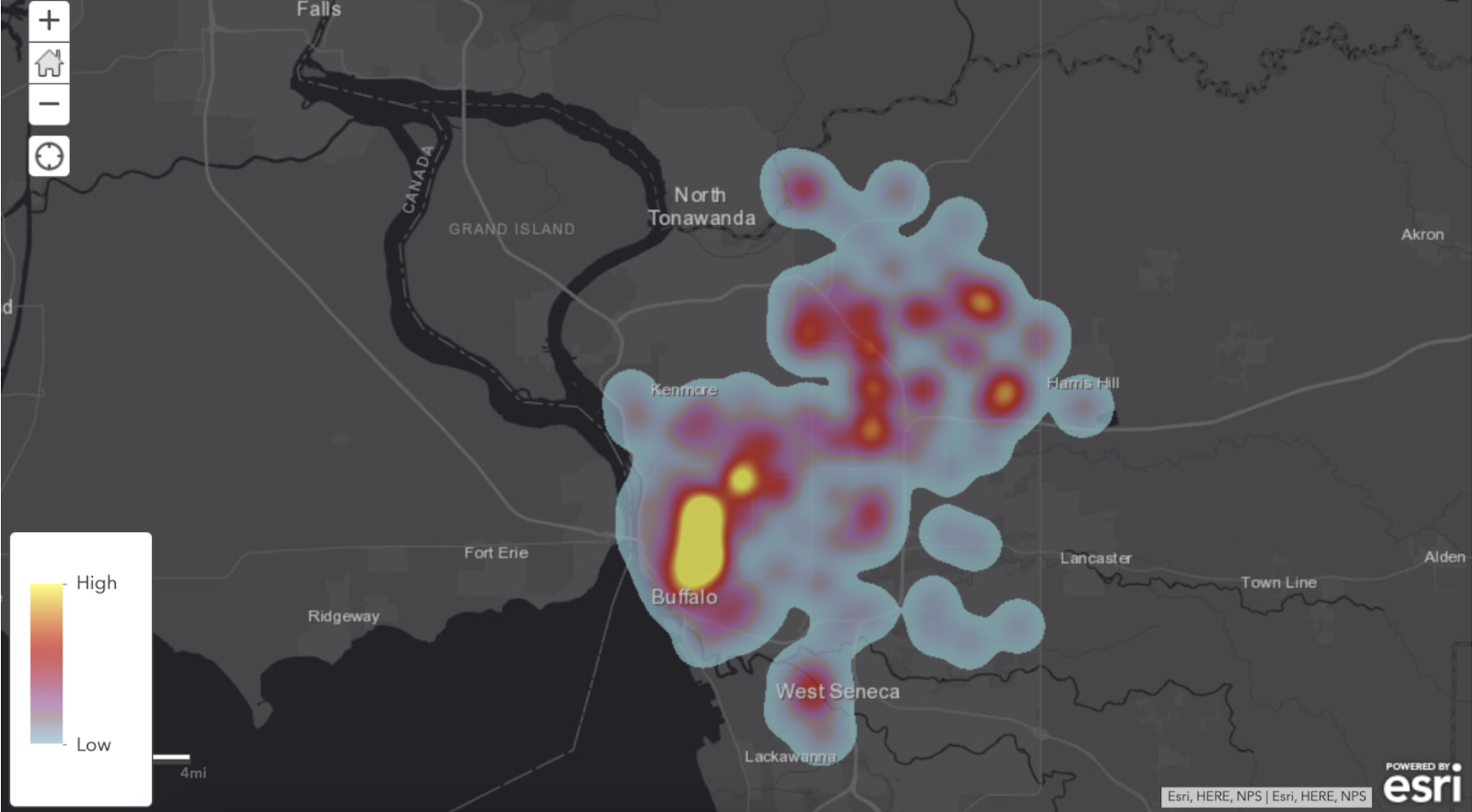 Points of interest data for creating heat maps in healthcare analytics.