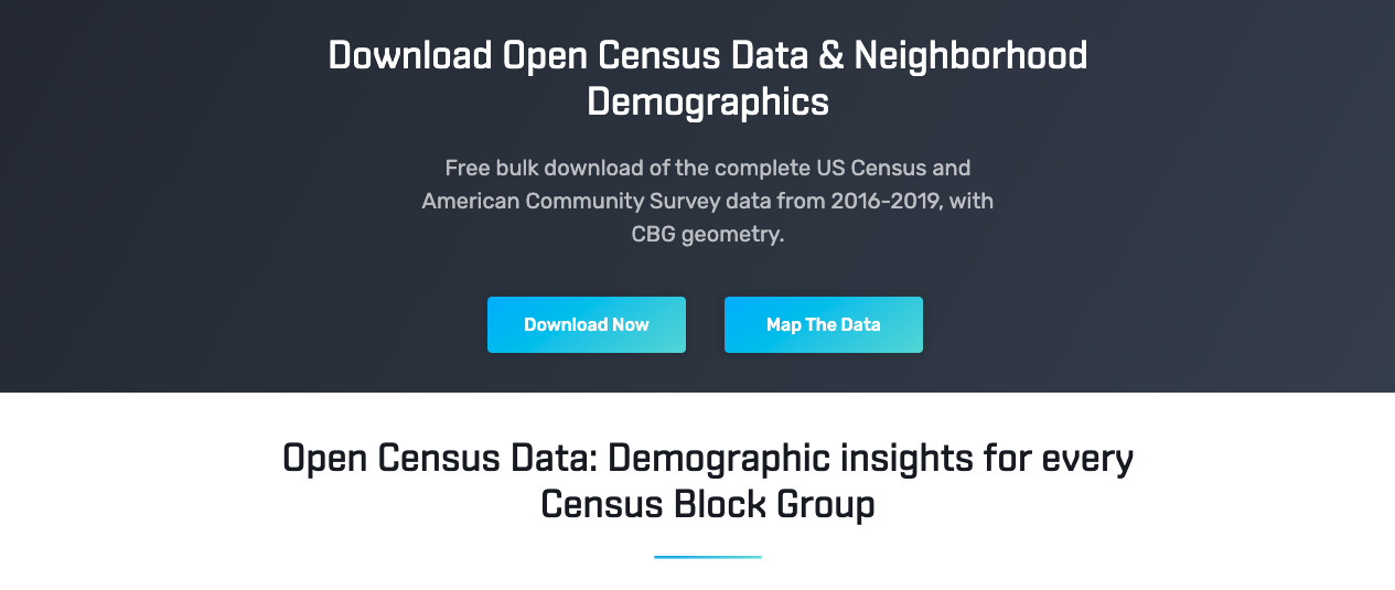 SafeGraph open census data provides an easy, consolidated download for all ACS attributes and national CBG geometry.