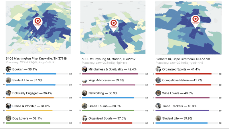 Lifestyle demographics of people living in the area of specific Target stores