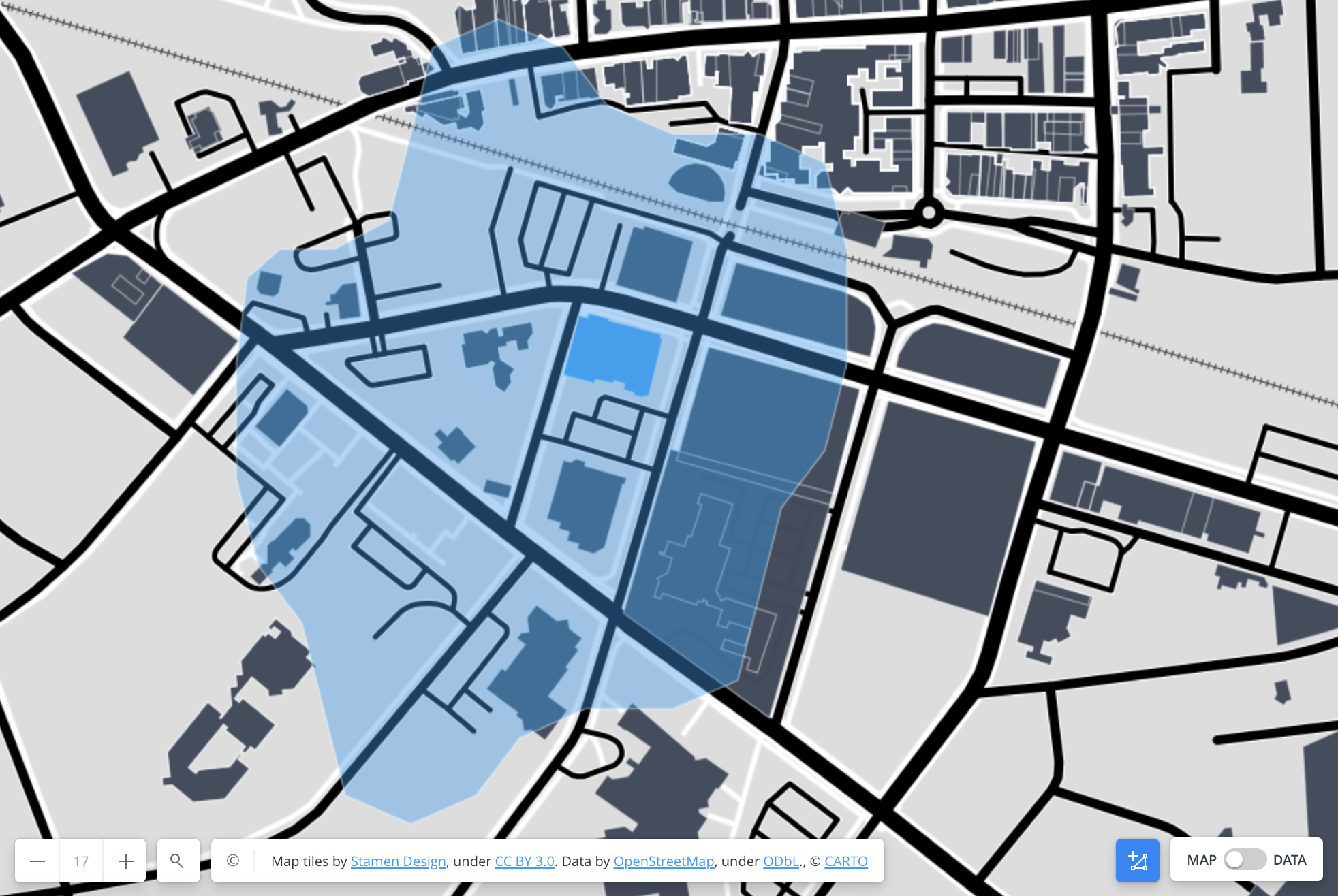 Map visualization of a five-minute walk time around a building footprint