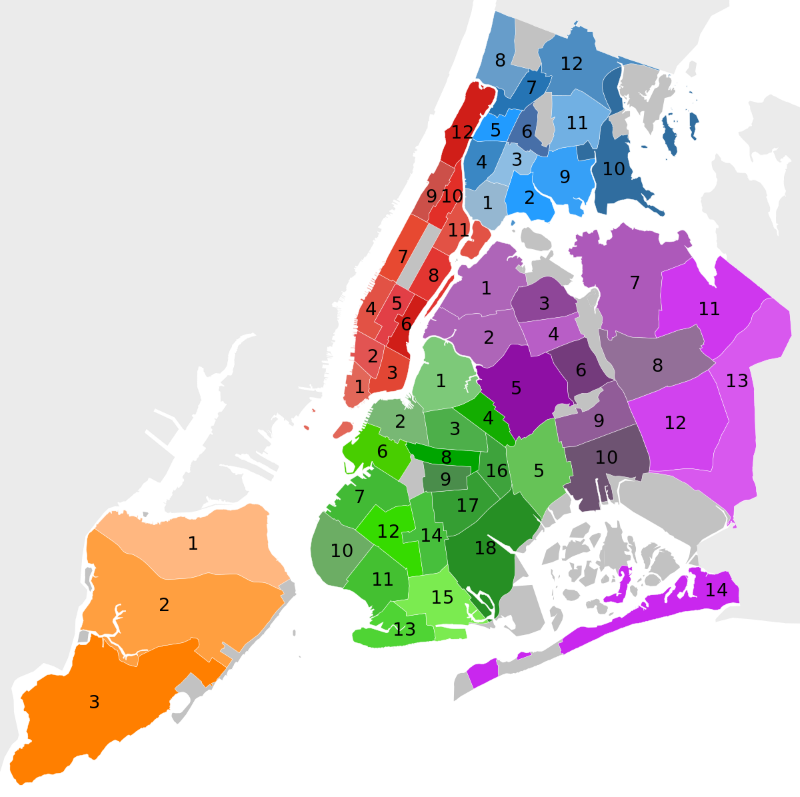 Map of community districts of Brooklyn in the City of New York