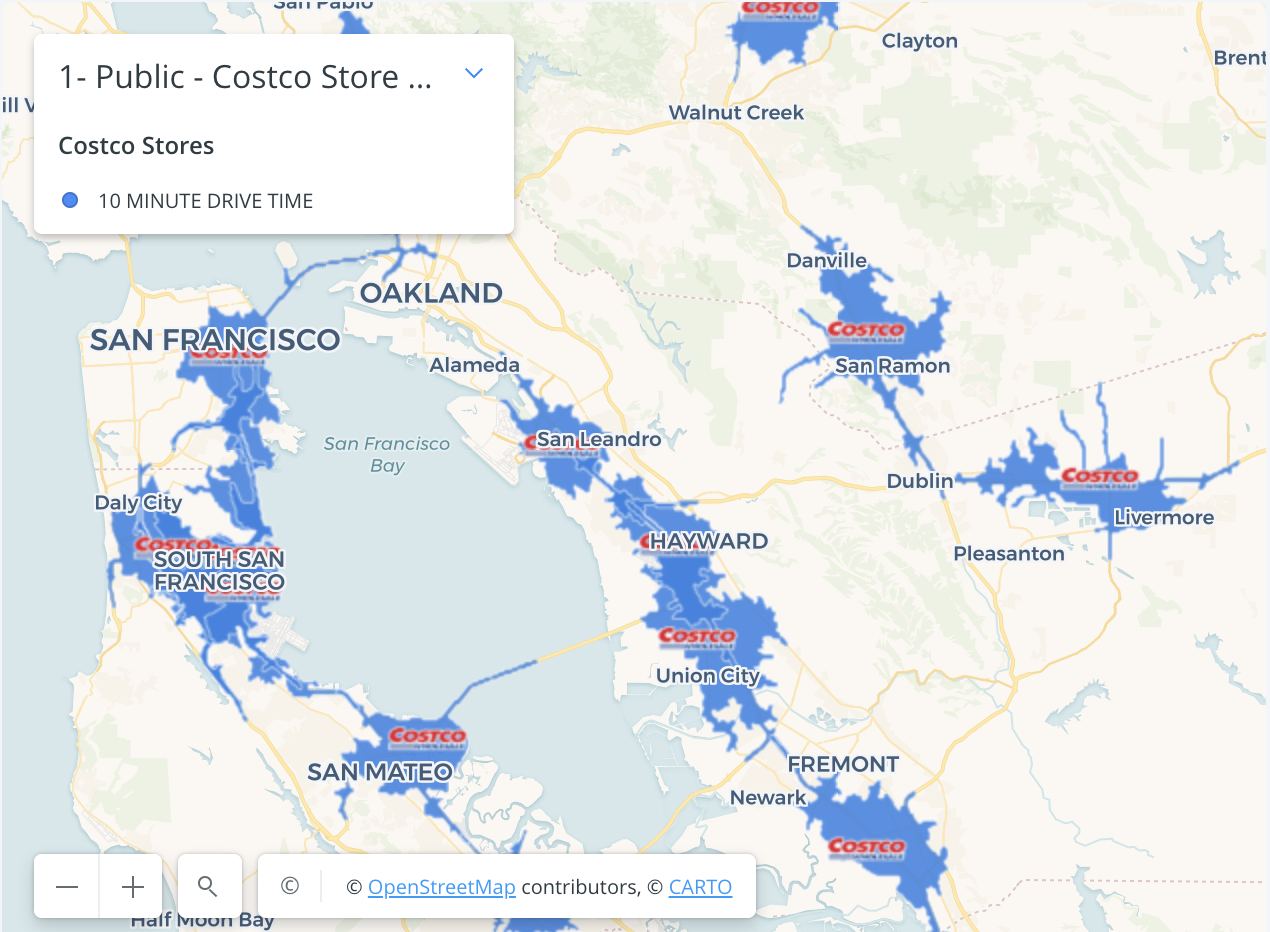 Example of SafeGraph drive time catchment area for Costcos