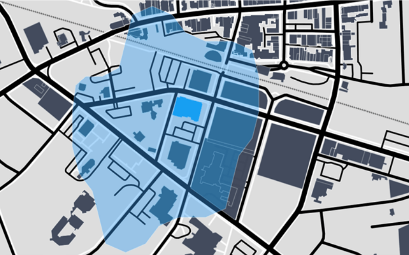 Example of a trade catchment area for a store