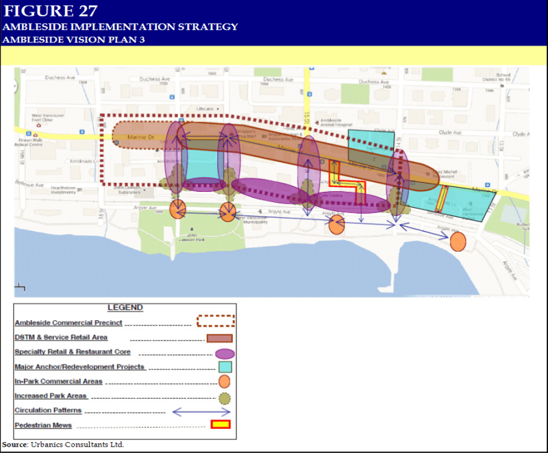 One of three plans for commercial and non-commercial land use in Ambleside district in Vancouver, BC