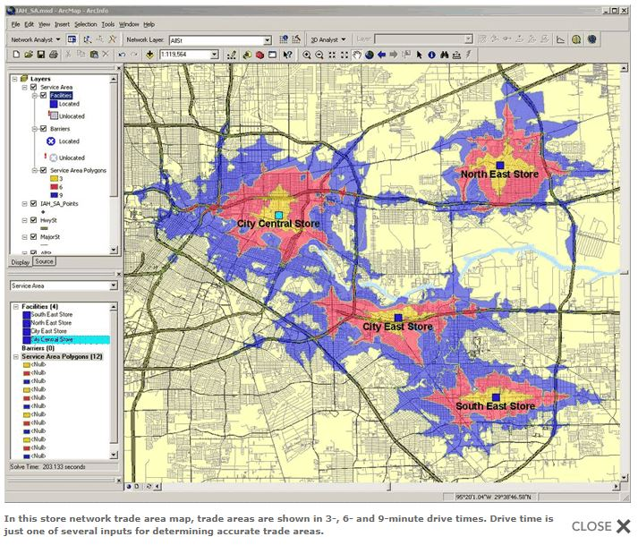 Explanations and sample maps for different methods of trade area definition