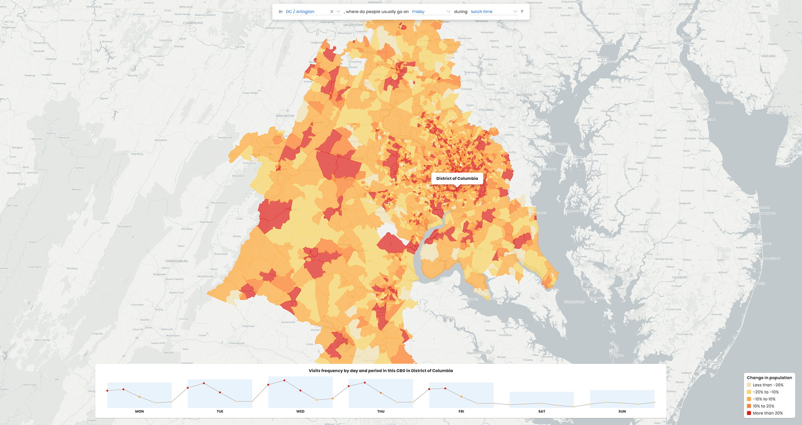 Analyze population movement with foot traffic data powered by Neighborhood Patterns