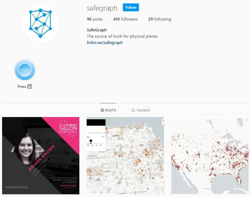 Example of a business instagram