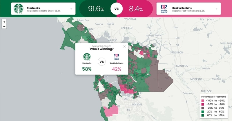 Brand Foot Traffic Comparisons Across the US