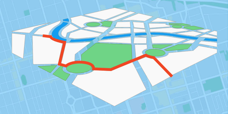 Bird's eye view of a map showing roads