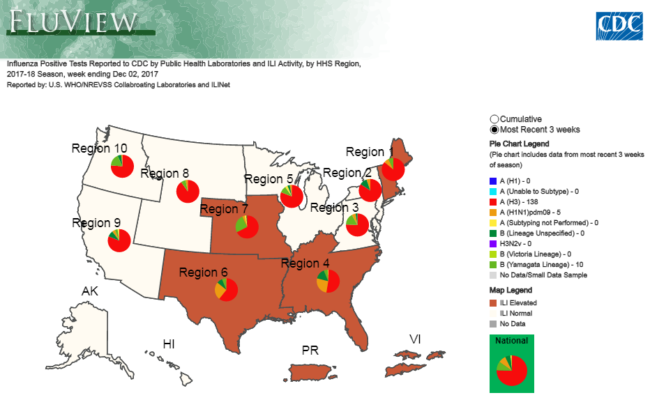 CDC FluView Interactive map