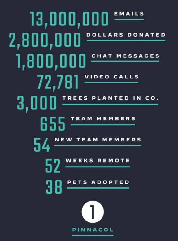 May be an image of text that says '13,000,000 000 EMAILS 000 2,800,000 DOLLARS DONATED 1,800,000 CHAT MESSAGES 72 72,781 VIDEO CALLS 3,000 TREES PLANTED IN co. 655 TEAM MEMBERS 54 NEW TEAM MEMBERS 52 WEEKS 38 PETS ADOPTED REMOTE 1 PINNACOL'