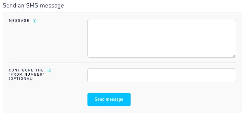 Send SMS dashboard form