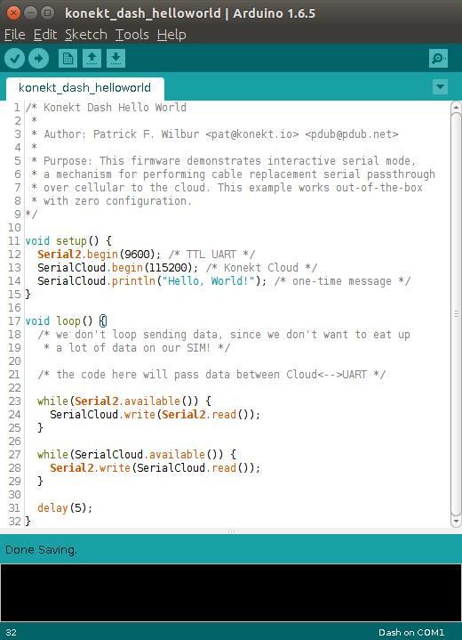 SerialCloud.print ; 1 line of code to send data via cellular!