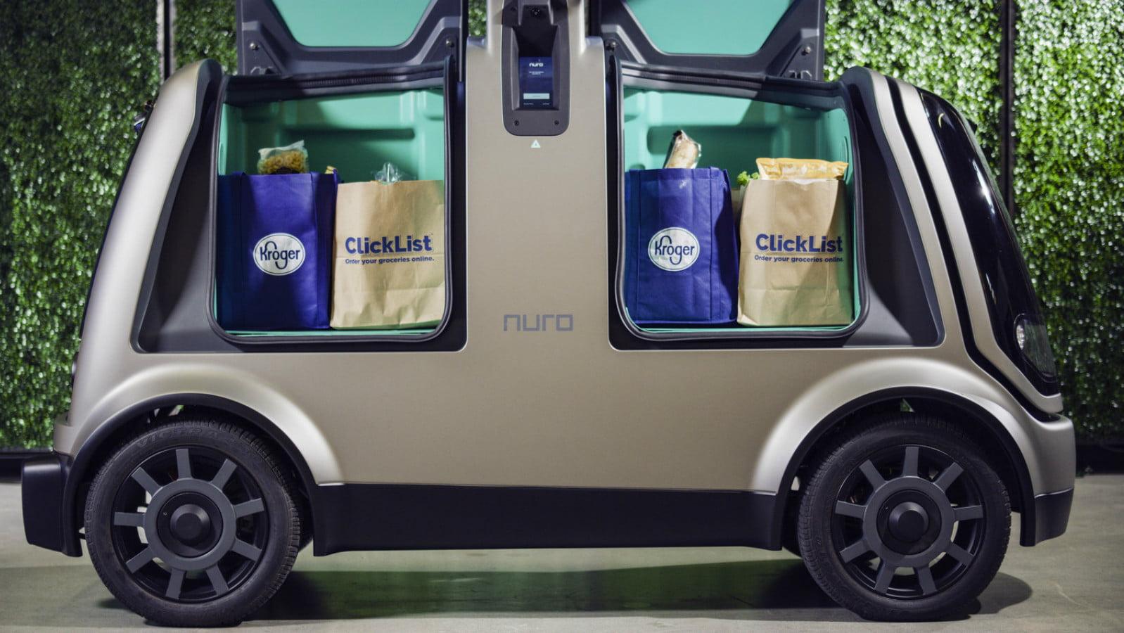 Nuro vehicle with Kroger groceries
