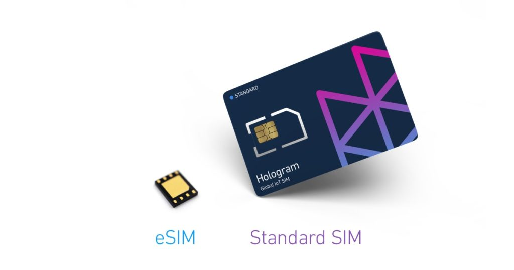 Hologram eSIM next to a Hologram Standard SIM card