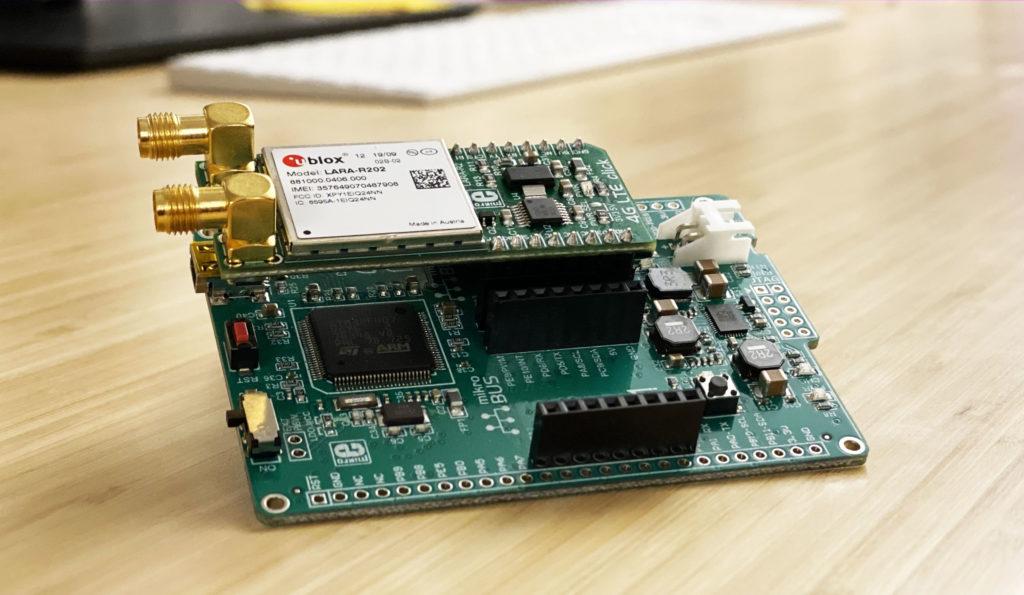 ublox LARA-R202 is a Cat-1 LTE modem, on a Mikro Elektronica board