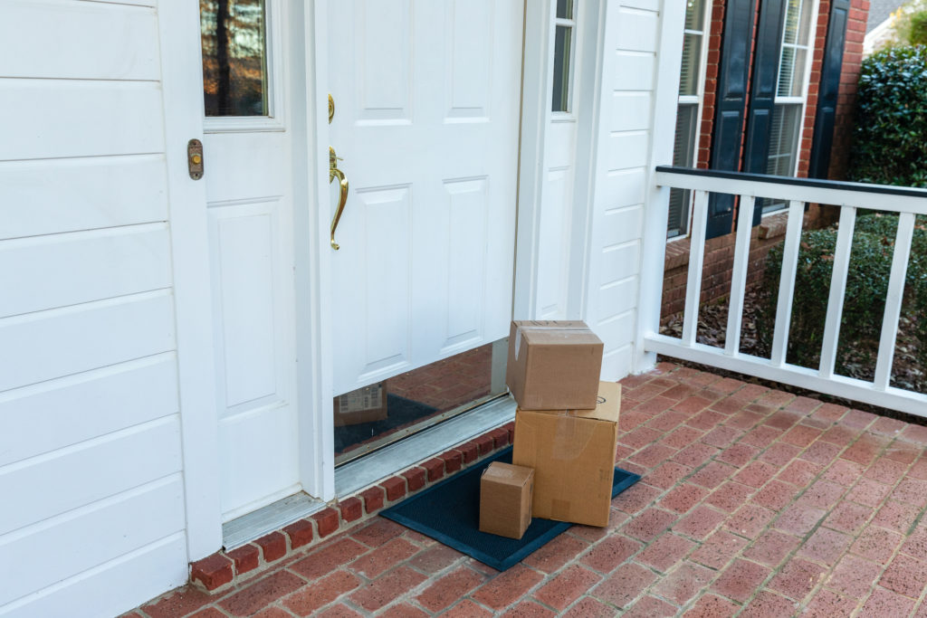 Package delivery left at the front door