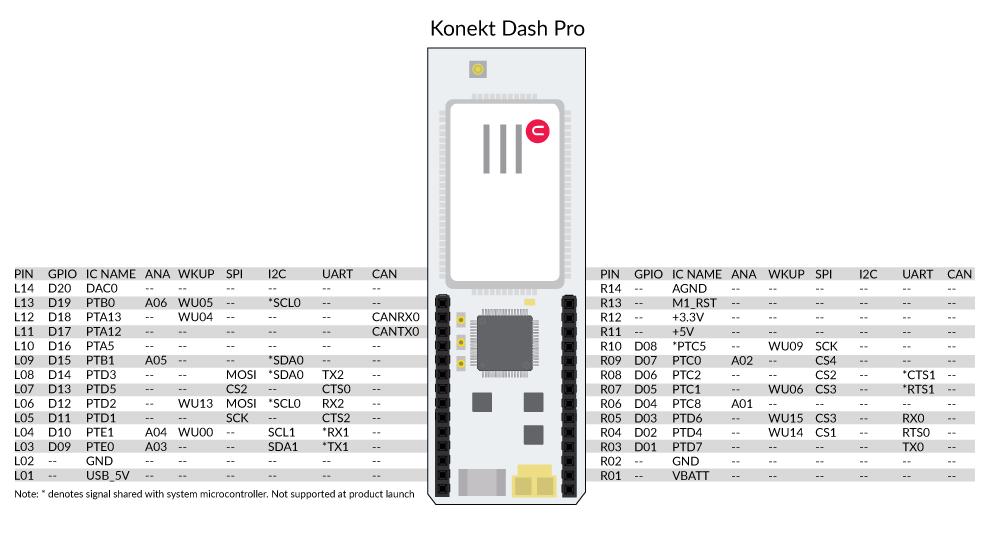 Dash Pro pinout diagram