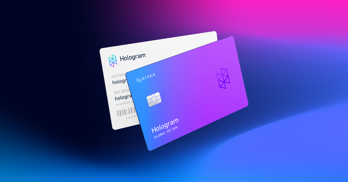 The front and back of a Hologram Hyper eUICC SIM card