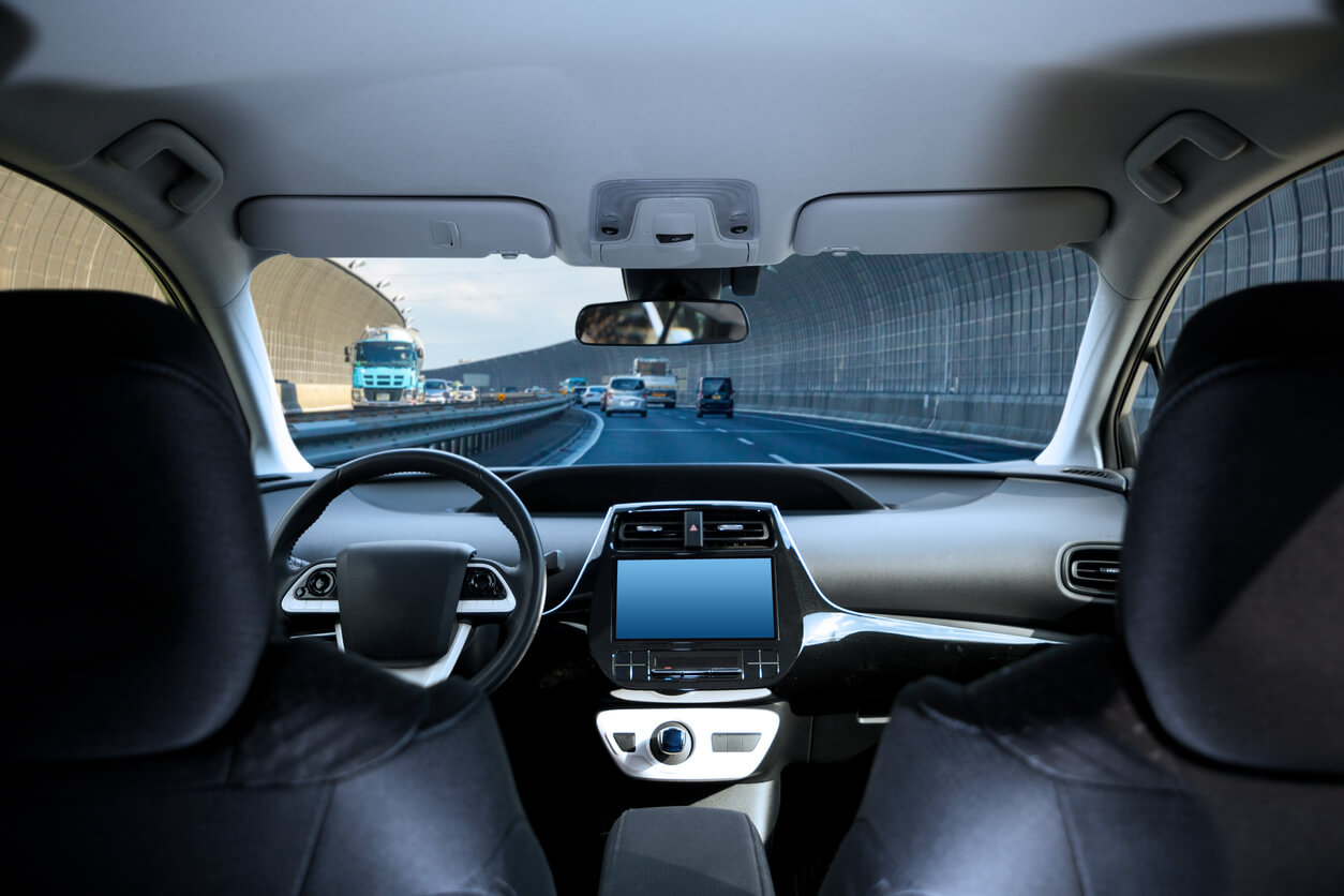 The empty cockpit of a self-driving automobile