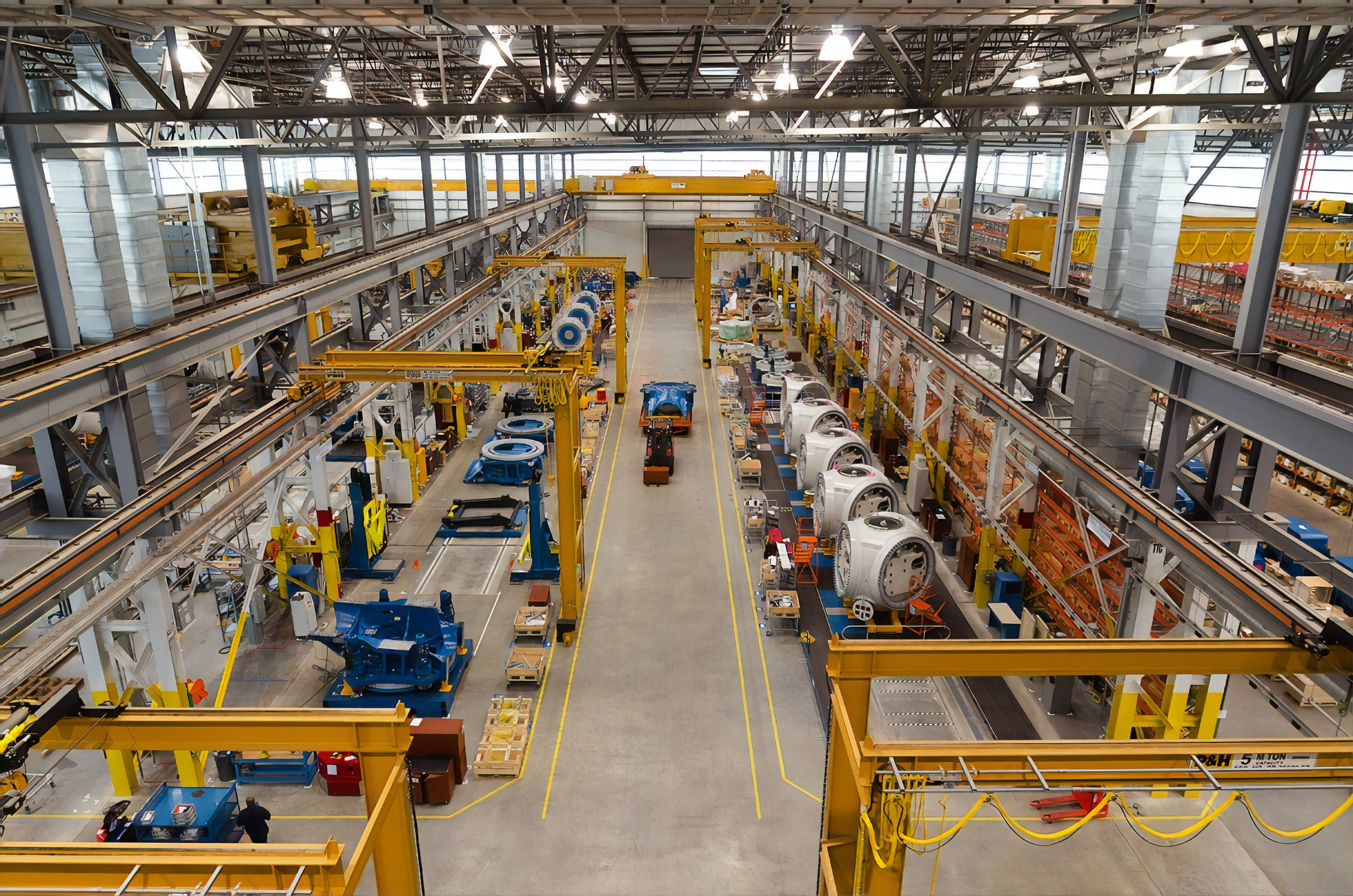 Manufacturing plant making wind turbines on assembly line