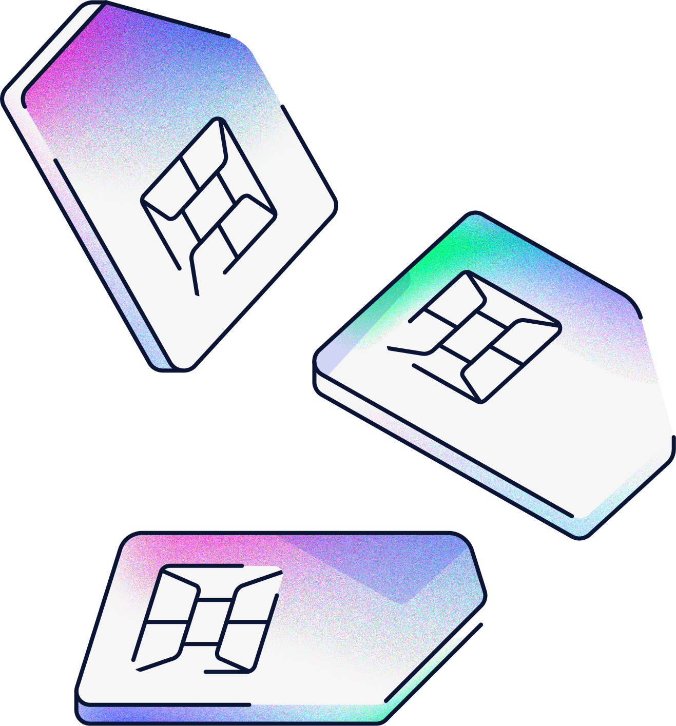 An illustration of three SIM cards floating next to each other