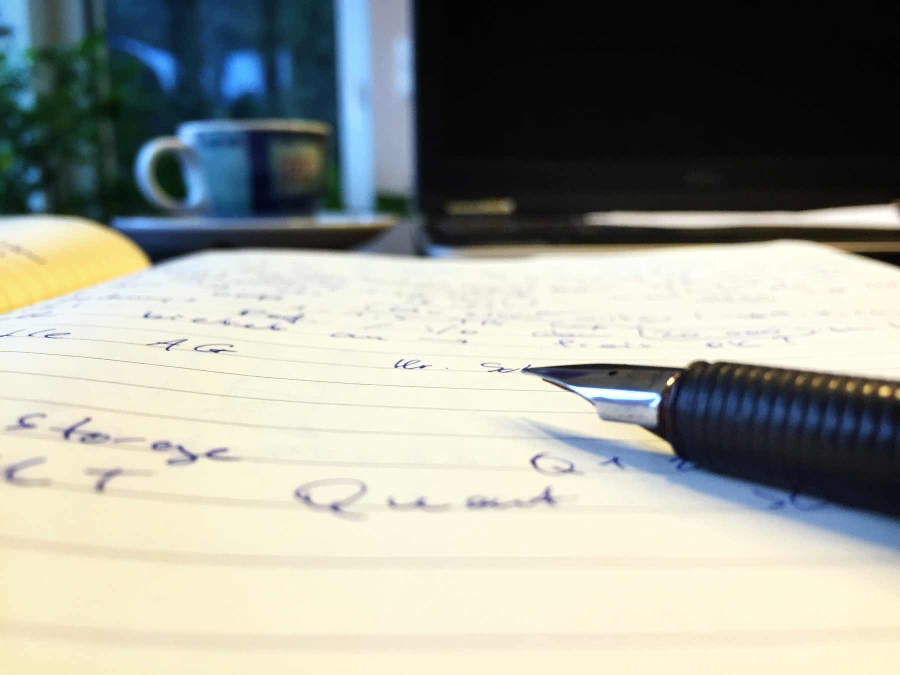 ink pen paper writing