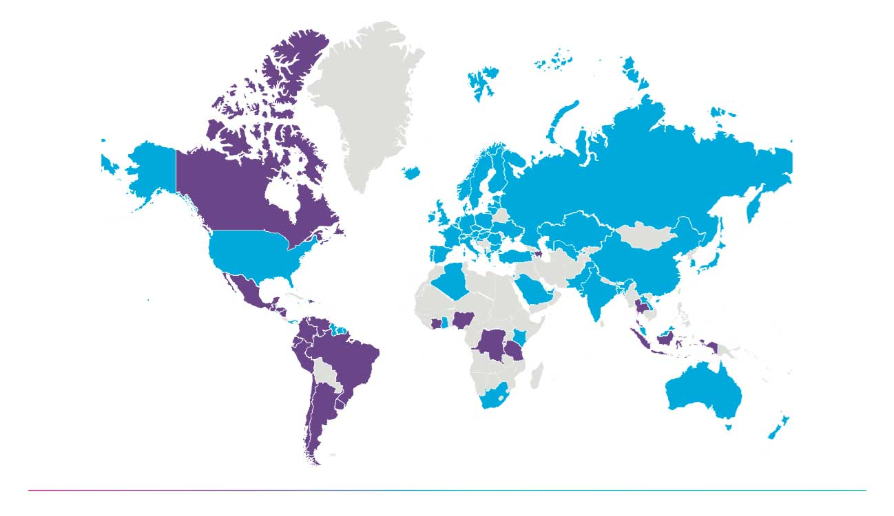 blue and purple world map