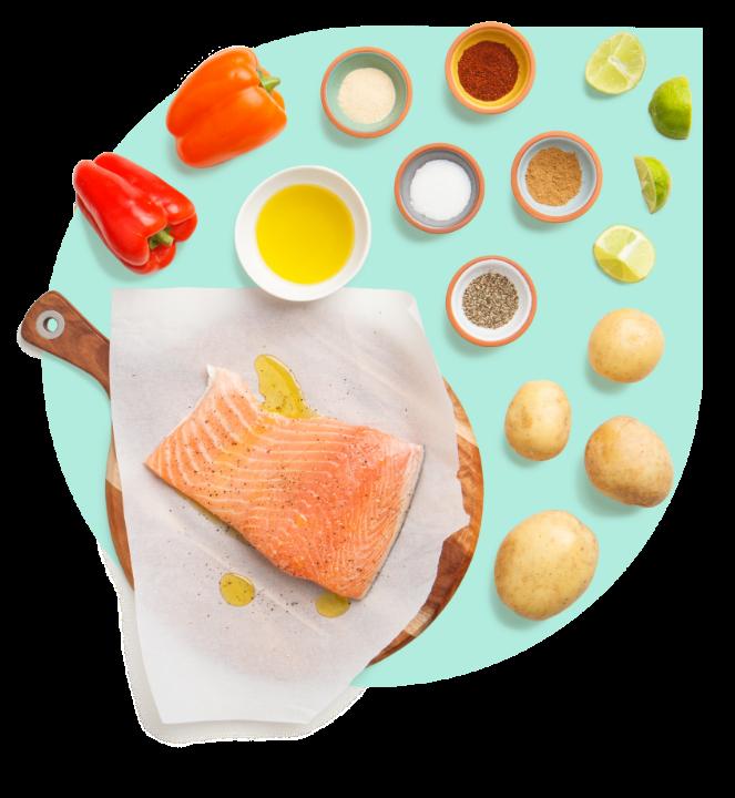 Salmon sheet pan with ingredients arranged